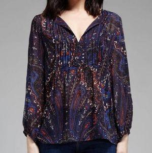 JOIE Vandrea 100% Silk Paisley Print Blouse Top